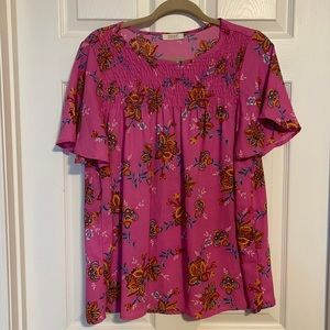 Pink flowered top